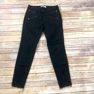 Zara black raw hem zipper pocket skinny crop jean